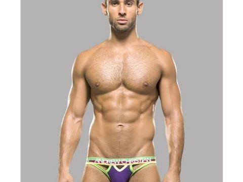 Мужские трусы джоки фиолетовые с цветной резинкой Andrew Christian АС9757