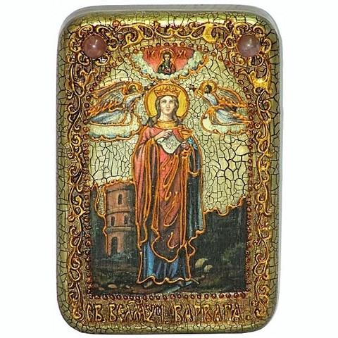 Инкрустированная рукописная икона Святая великомученица Варвара Илиопольская 15х10см на натуральном дереве в подарочной коробке
