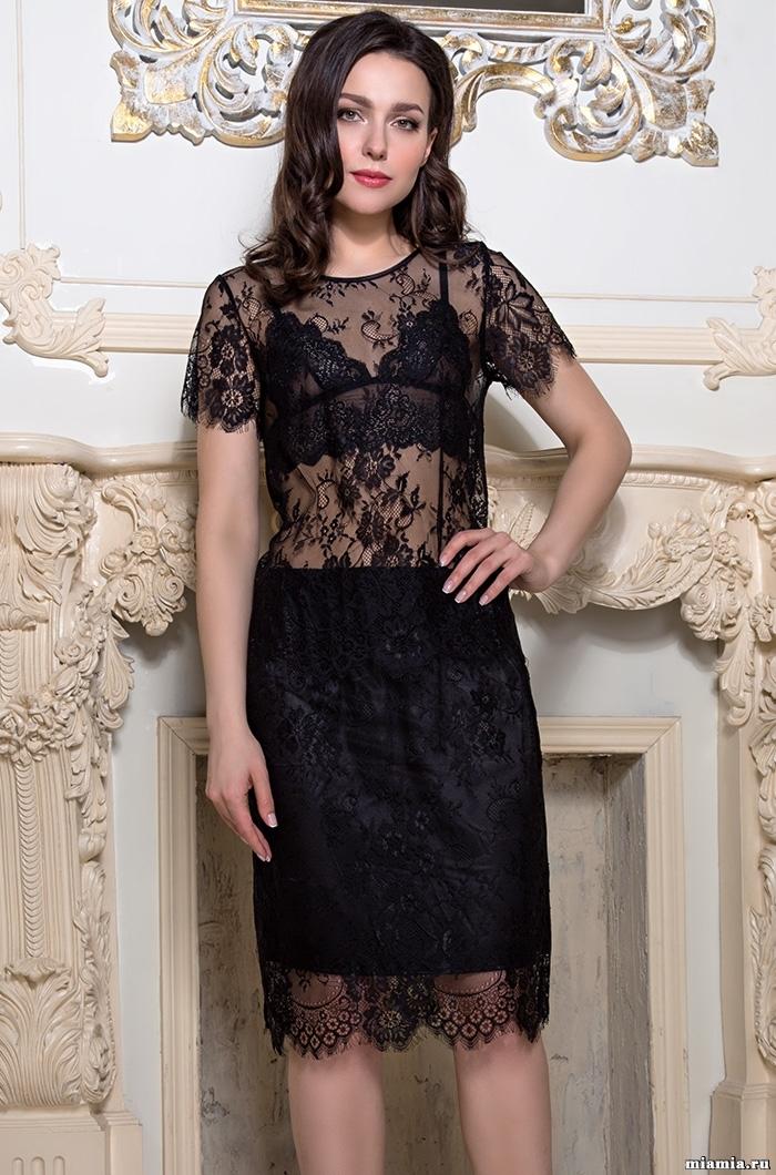 шелк искусственный Комплект юбка с топом из черного кружева MIA-AMORE Шанель Fashion 2124 2124.jpg