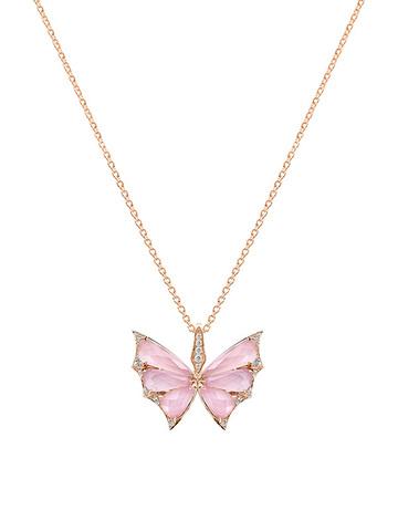 Колье Butterfly из золоченого серебра с розовым кварцем
