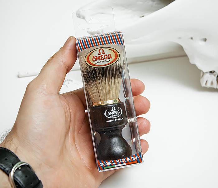 RAZ503 Помазок «OMEGA» с рукояткой из дерева, щетина кабана фото 03