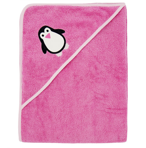 Полотенце с капюшоном, 100x100 cm, pink penguin