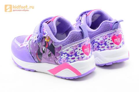 Светящиеся кроссовки для девочек Пони (My Little Pony) на липучках, цвет сиреневый, мигает картинка сбоку, 5868A. Изображение 7 из 15.