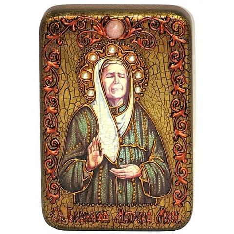 Инкрустированная рукописная икона Блаженная старица Матрона Московская 15х10см на натуральном дереве в подарочной коробке