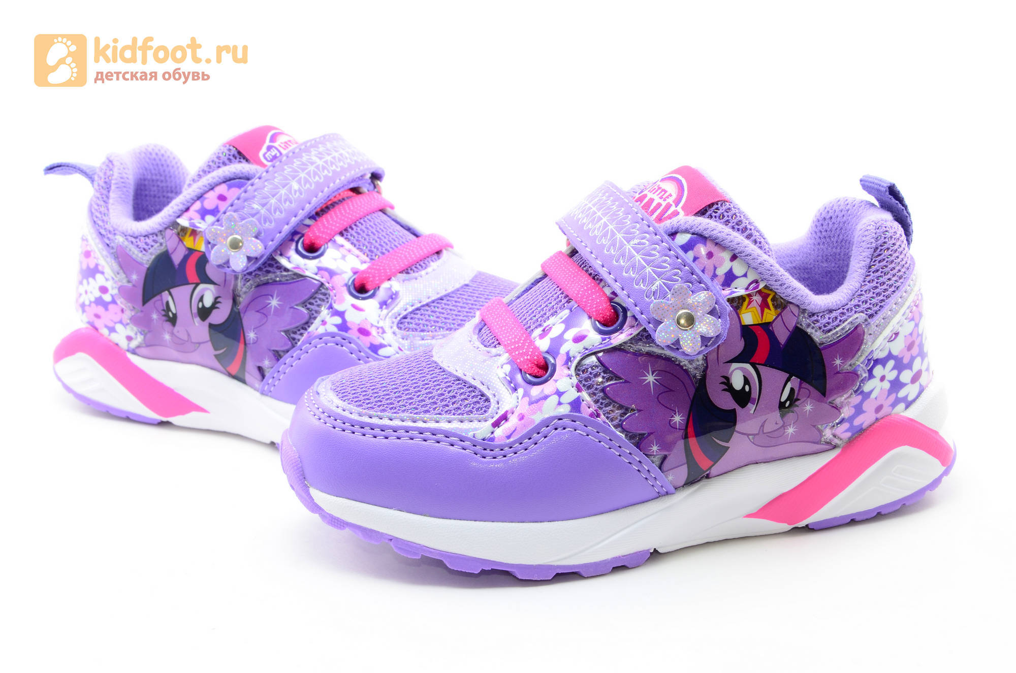 Светящиеся кроссовки для девочек Пони (My Little Pony) на липучках, цвет сиреневый, мигает картинка сбоку, 5868A