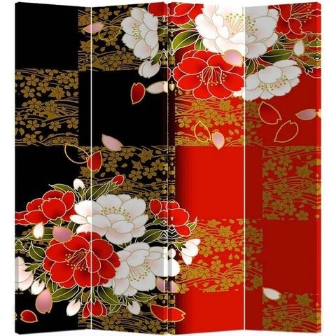Ширма 1082-4 China деревянная красно-черный