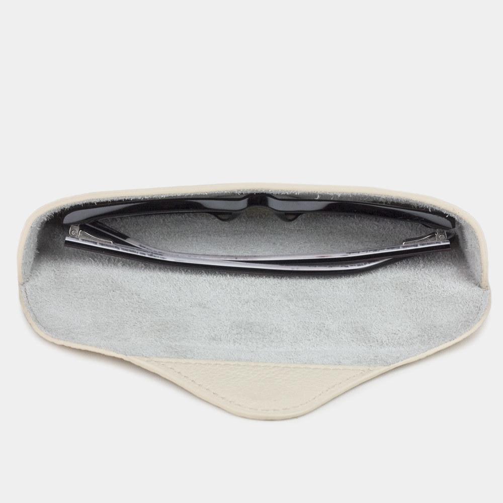 Футляр для очков Vision Easy из натуральной кожи теленка, молочного цвета