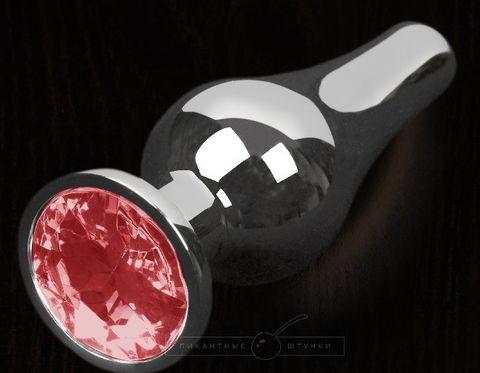 Серая анальная пробка с красным кристаллом - 12 см.