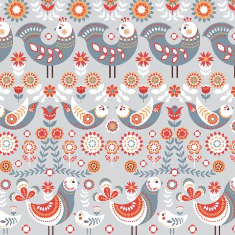Птицы с орнаментами на сером фоне. Скандинавский стиль. (Дизайнер Irina Skaska)