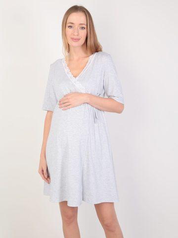 Евромама. Комплект для беременных и кормящих с коротким рукавом и кружевом, меланж серый