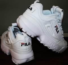 Кроссовки на толстой подошве женские Fila Disruptor 2 all white RN-91175.
