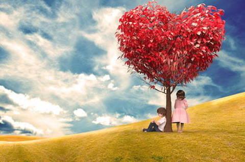 Картина раскраска по номерам 30x40 Дети у дерева сердечка
