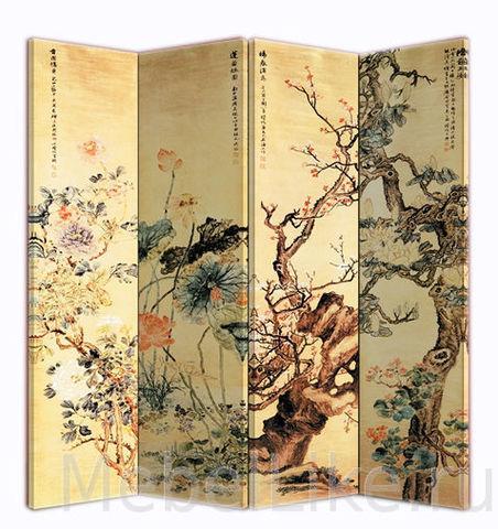 Ширма 1082-4 China деревянная рисунок Япония