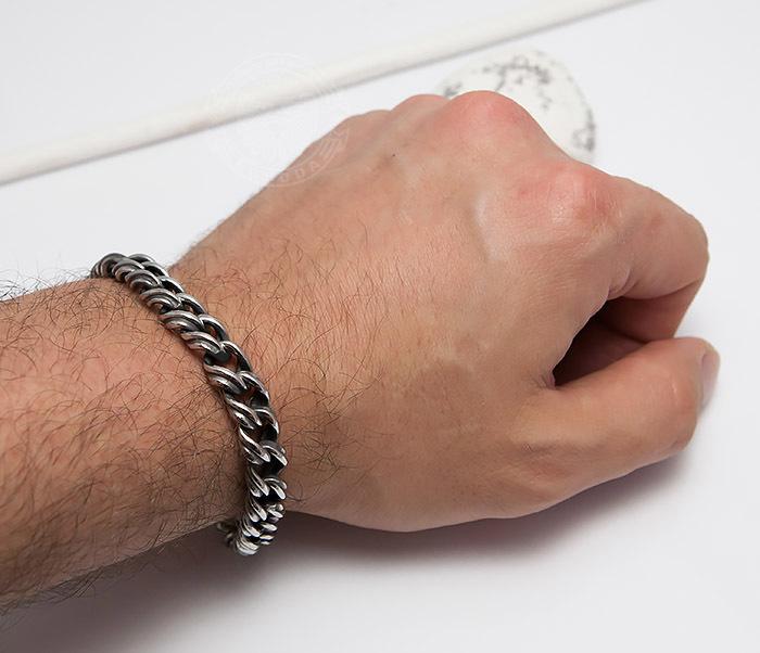 BM496 Красивый мужской браслет цепь с необычными звеньями (23 см) фото 06