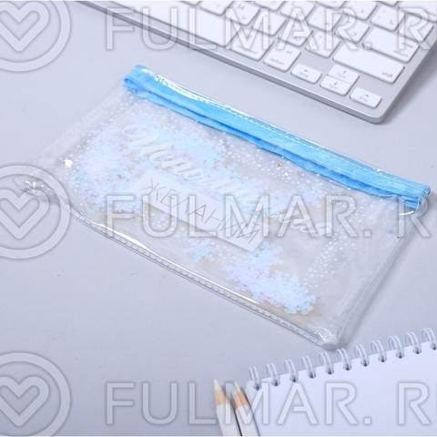Прозрачный Пенал-шейкер для девочек надпись Исполнения желаний 20 х 11.5 см Голубой