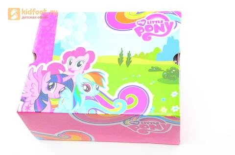 Светящиеся кроссовки для девочек Пони (My Little Pony) на липучках, цвет сиреневый, мигает картинка сбоку, 5868A. Изображение 15 из 15.