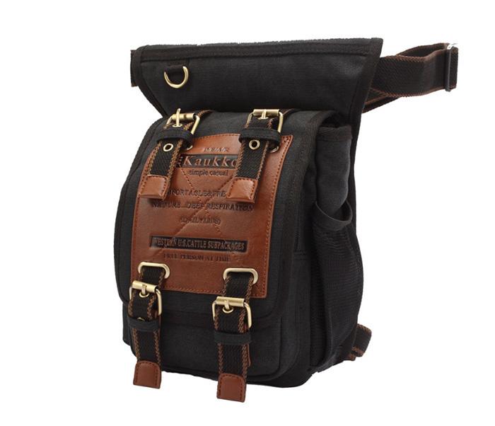 BAG386-1 Вместительная мужская сумка на пояс из ткани черного цвета