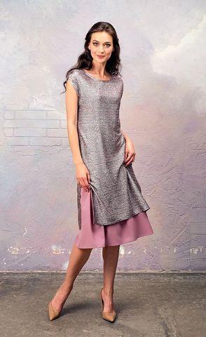 Фото платье 2 в 1 из блестящей туники и нежно-розового нижнего платья - Платье З337-164 (1)