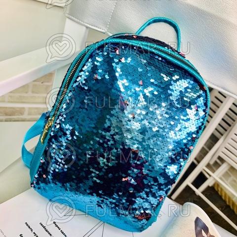 Рюкзак с пайетками  меняющий цвет Голубой-Розовый модель МILA