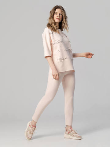 Женский джемпер светло-розового цвета из вискозы - фото 6