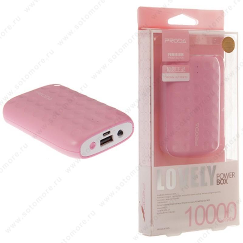 Аккумулятор внешний универсальный Proda MD03 Lovely 10000 мАч 1*USB 2.0A розовый