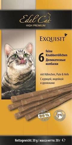 Edel Cat колбаски для кошек с курицей, индюшкой и дрожжами 6шт