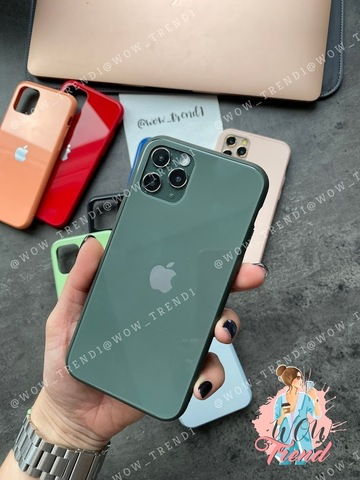 Чехол iPhone 11 Glass Pastel color Logo /forest green/