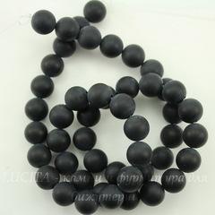 Бусина Агат матовый (Категория A), шарик, цвет - черный, 8 мм, нить