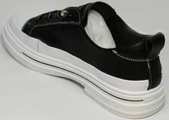 Женские летние туфли как кроссовки черно белые El Passo sy9002-2 Sport Black-White.