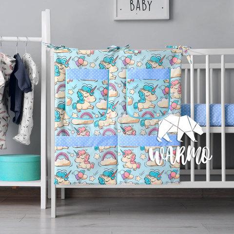 органайзер для ліжечка з голубими єдинорогами фото