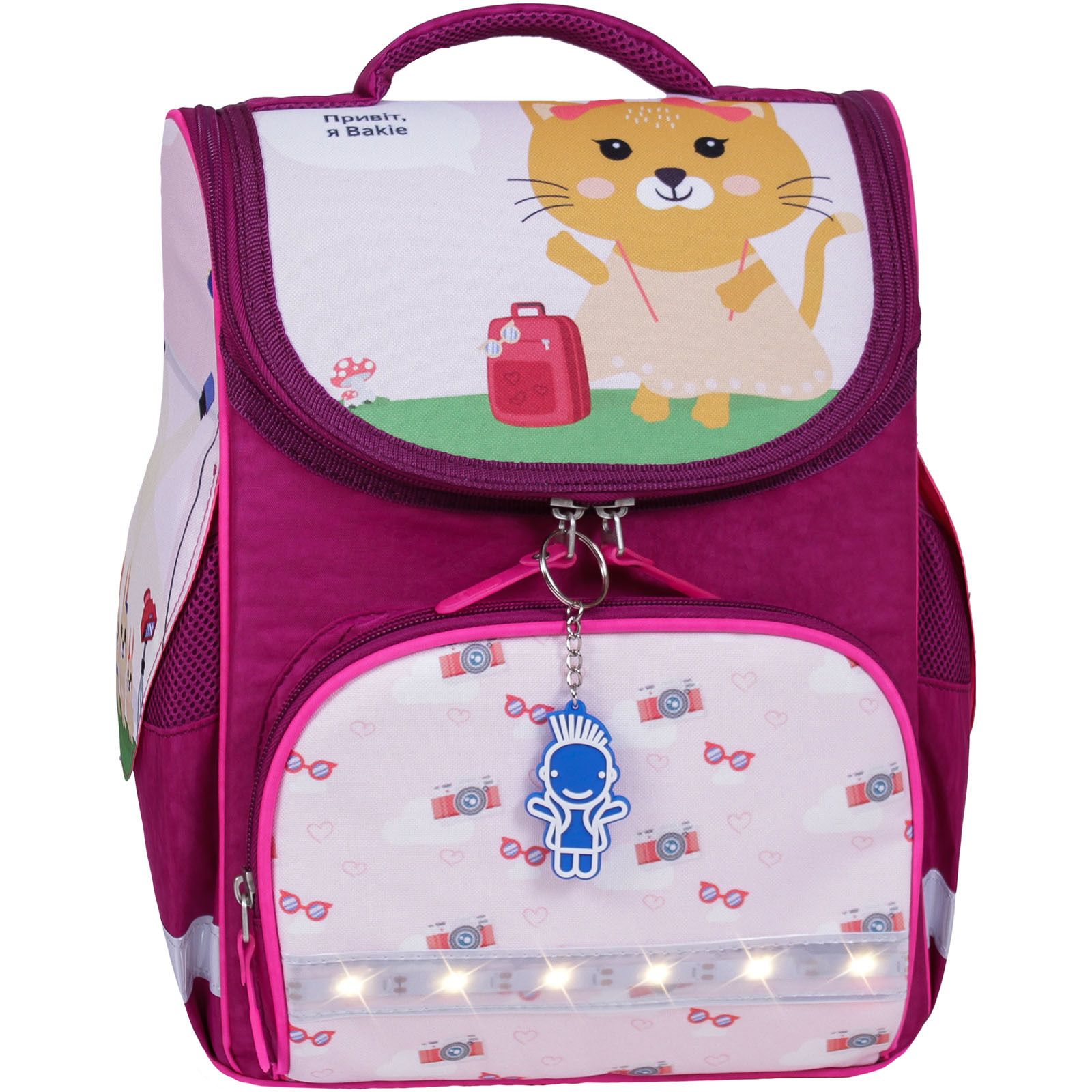Школьные рюкзаки Рюкзак школьный каркасный с фонариками Bagland Успех 12 л. малиновый 434 (00551703) IMG_7390-1600.jpg