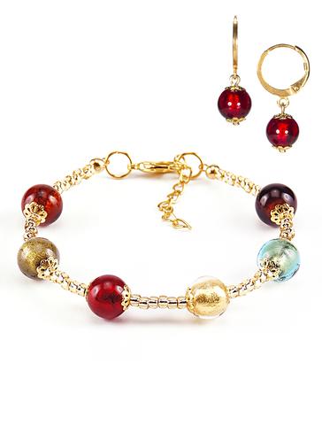 Комплект Carnavale Oro (браслет и серьги Piccolo рубиновые)