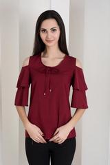 Одри. Молодежная блуза с воланами. Бордо