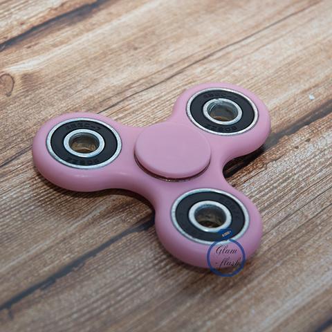 Спиннер классический из пластика с утяжелителями подшипниками розового цвета 17002P_pink