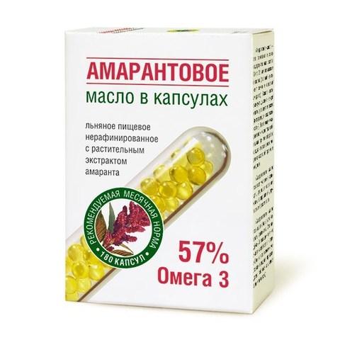 Масло льняное Амарантовое в капсулах,180шт. по 0,3г (Компас Здоровья)