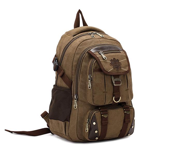 BAG388-2 Мужской повседневный рюкзак цвета хаки из прочной ткани