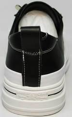Красивые модные кроссовки туфли женские на маленьком каблуке El Passo sy9002-2 Sport Black-White.
