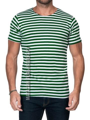 Футболка-тельняшка прямая (зеленая полоса)