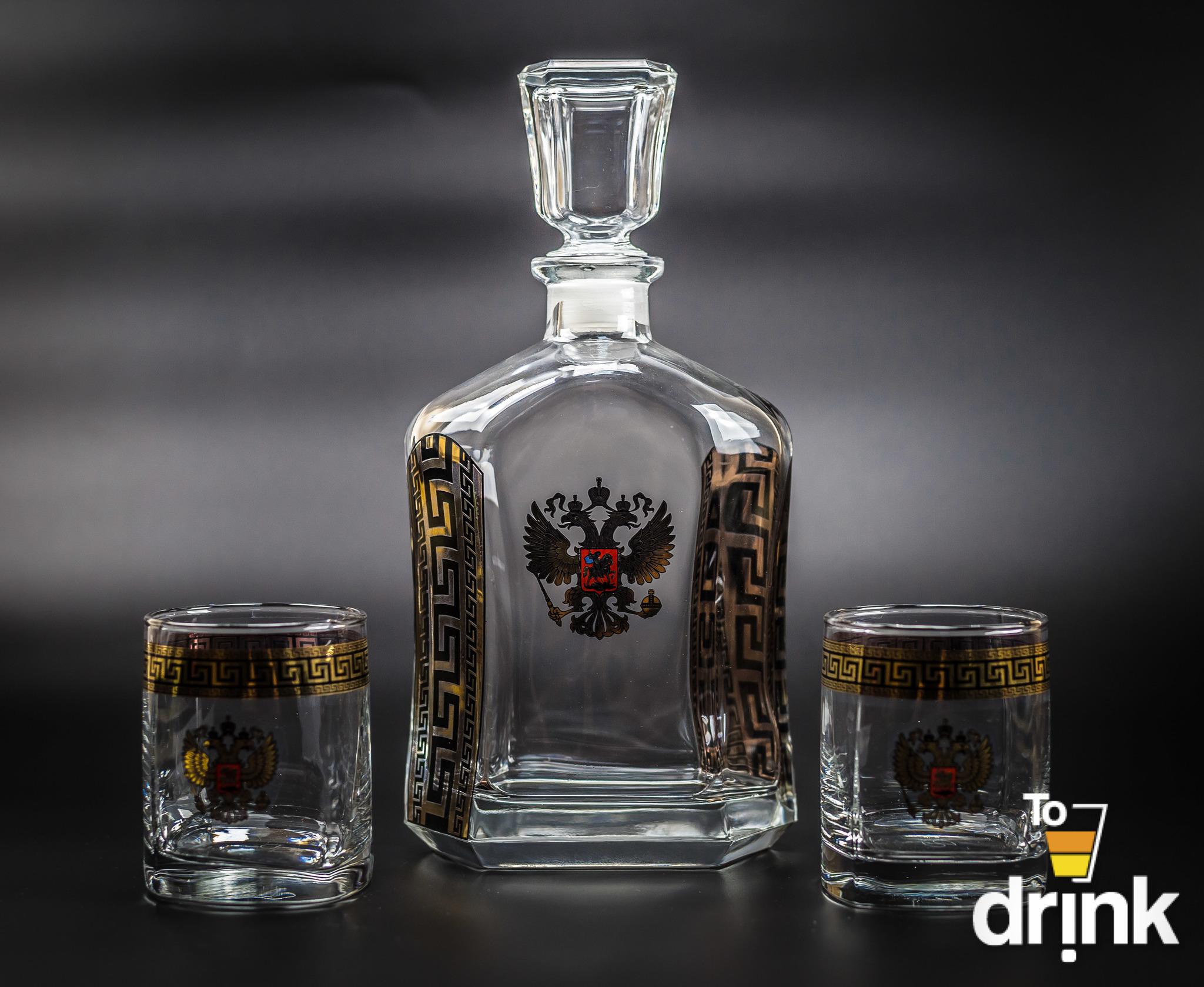 Подарочный набор для виски «Министр»: штоф 800 мл, 2 стакана 275 мл штоф rcr bubble 800 мл
