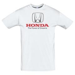 Футболка с принтом Хонда (Honda) белая