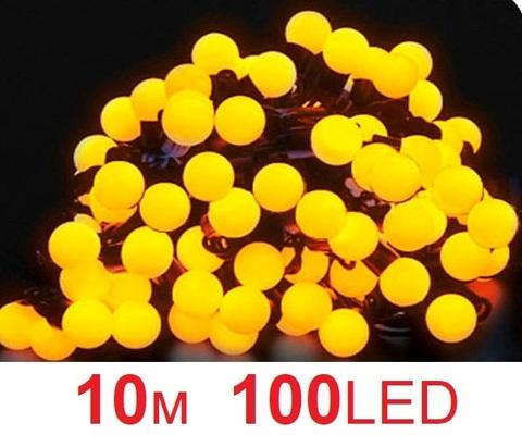 Гирлянда шарики 10  м 100 лед желтый цвет