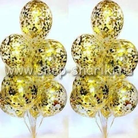 фонтан из шаров с золотым конфетти
