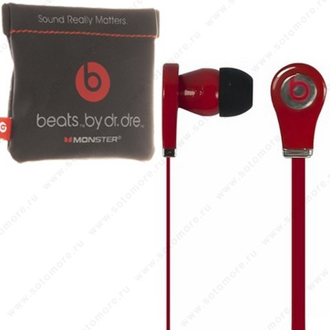 Наушники Tour для MP3 проводные в мешочке красные