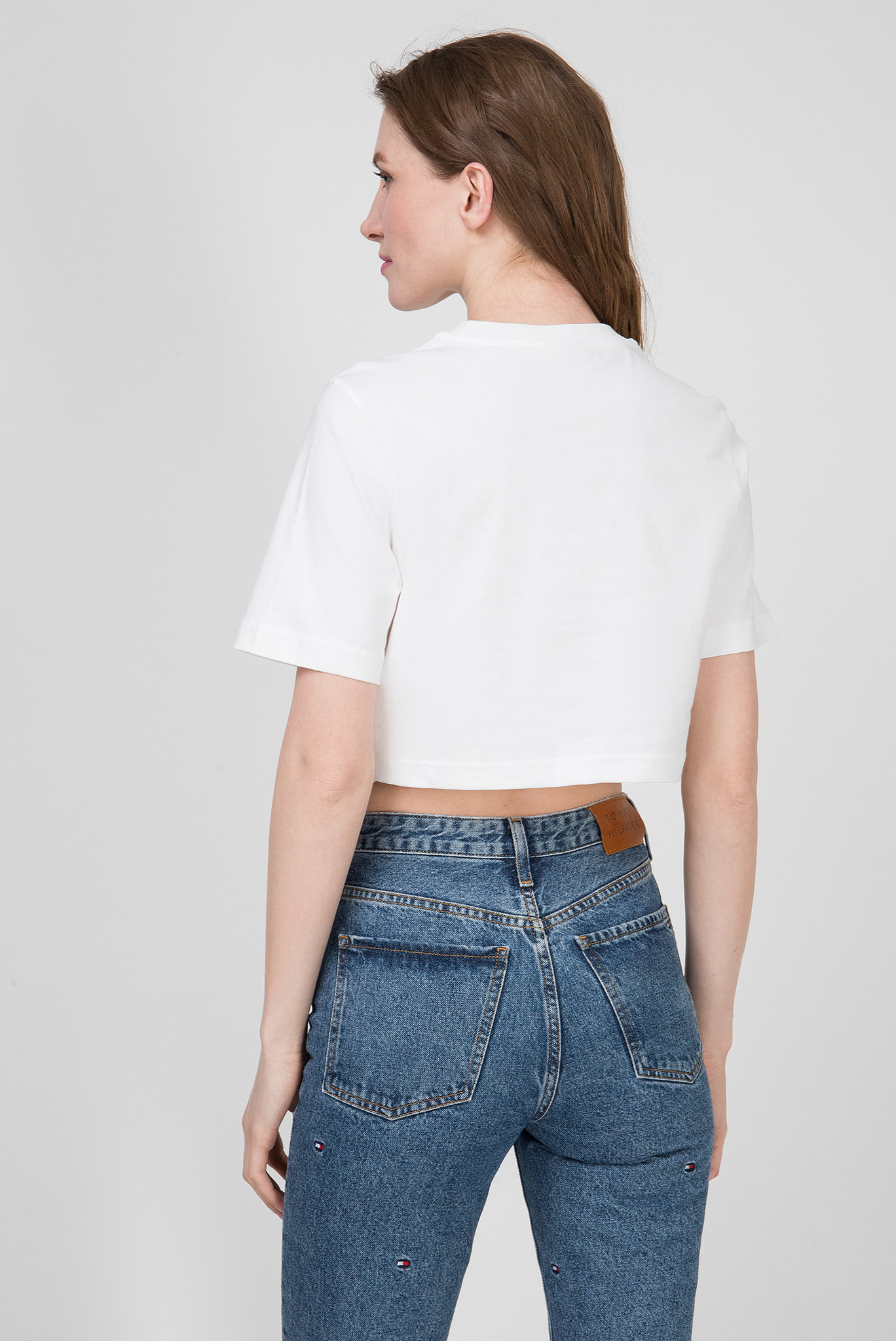 Женская белая футболка CROPPED SIGNATURE LOGO Tommy Hilfiger