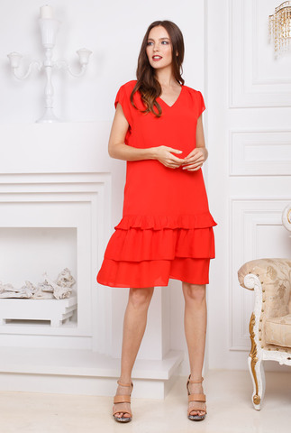 Фото красное платье с воланами внизу прямого фасона до колен со спущенными рукавами - Платье З274а-931 (1)