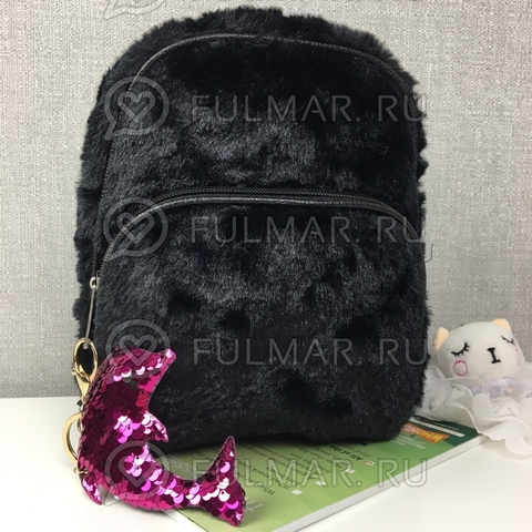 Рюкзак плюшевый Чёрный и брелок дельфин с двусторонними пайетками