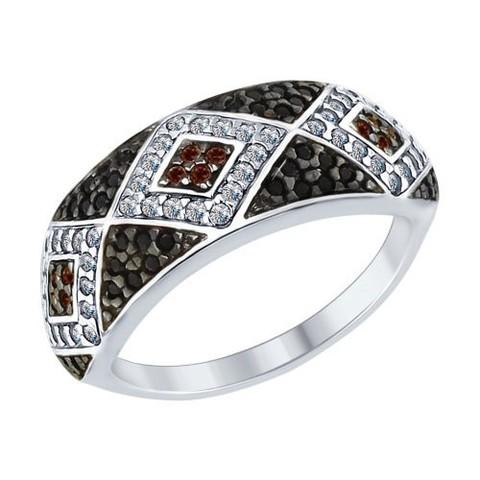 94012573- Кольцо из серебра с черно-белыми фианитами от SOKOLOV