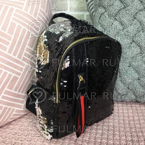 Рюкзак чёрный с пайетками меняющий цвет Чёрный-Серебристый с молнией LOLA