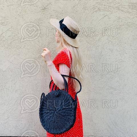 Круглая плетёная соломенная сумка летняя женская (цвет: чёрный)