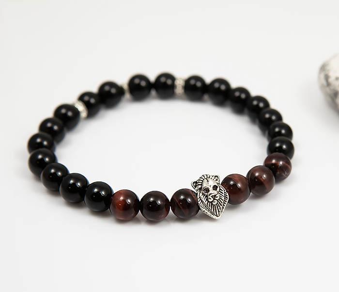 BS790 Мужской браслет из камня со вставкой - львом (19,5 см) фото 03